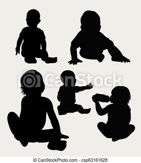 bébé, silhouette - csp63161628