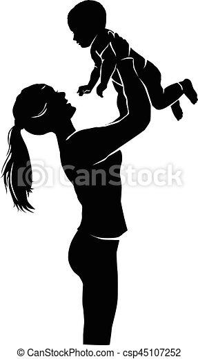 bébé, silhouette, mère - csp45107252