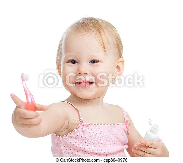 bébé, sourire, dents nettoyage - csp8640976