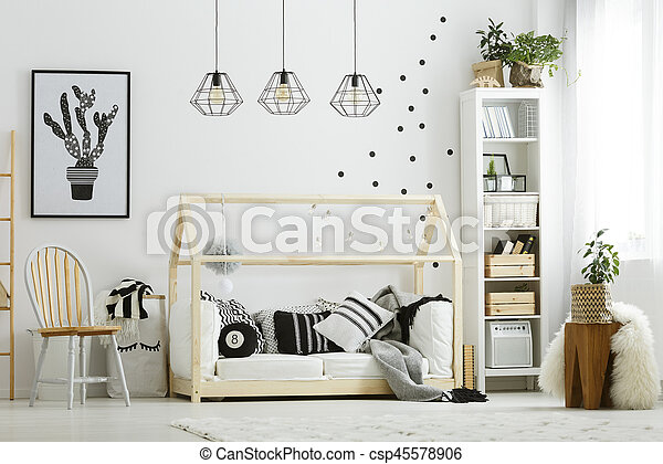 Bébé, style, chambre à coucher, scandinave. Style, lit, scandinave ...