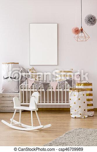 Bébé, style, chambre à coucher, scandinave. Style, lit camp, affiche ...