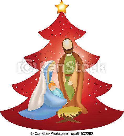 bébé, vecteur, mary, arbre, joseph, bras, scène, nativity noël, fond, rouges, jésus - csp61532292