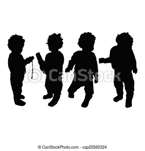 bébé, vecteur, silhouette - csp25560324