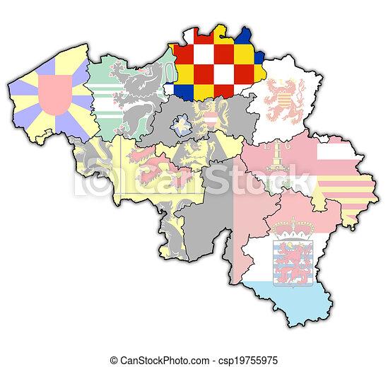Belgica Mapa Antuerpia Administracao Bandeiras