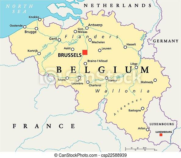Mapa Politica Belga Con Bruselas Capital Fronteras Nacionales