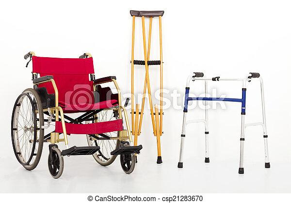 béquilles, aids., fauteuil roulant, mobilité, isolé, blanc - csp21283670