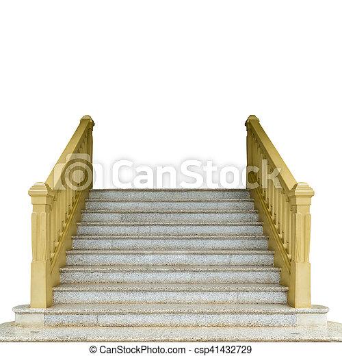 béton, blanc, isoler, escalier - csp41432729