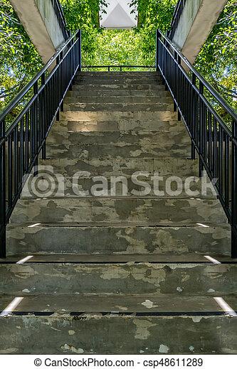 béton, fer, escalier, balustrade - csp48611289