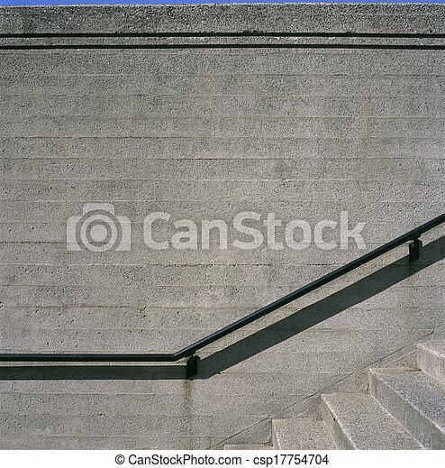 béton, grille, étapes, fer - csp17754704