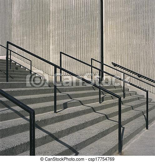 béton, grille, étapes, fer - csp17754769