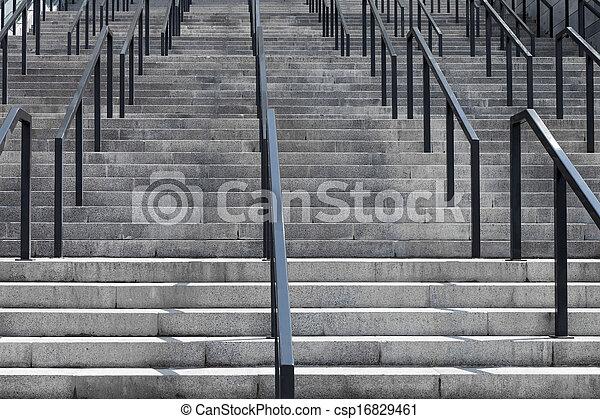 béton, grille, escalier, fer - csp16829461