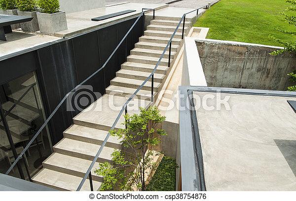 béton, sommet, escalier, jardin, vue