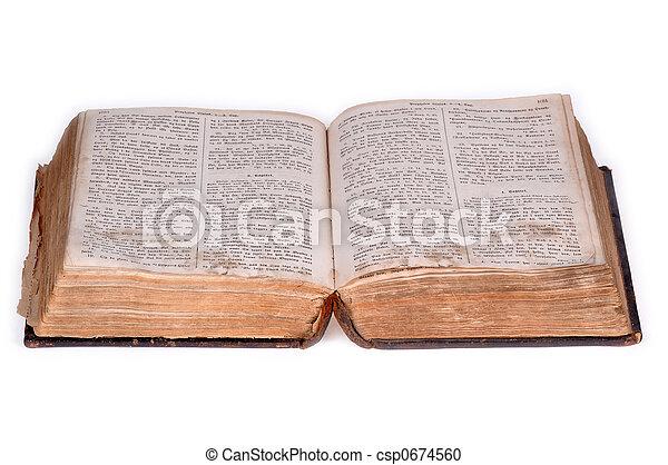 bíblia aberta, antigas, versão, 5. - csp0674560