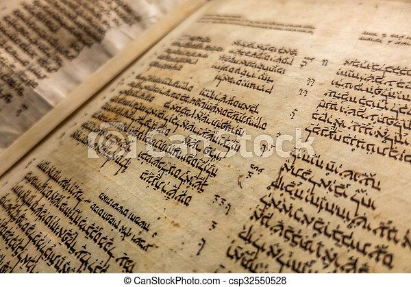 bíblia, medieval, manuscrito, codex, -, limite, aleppo, hebreu - csp32550528