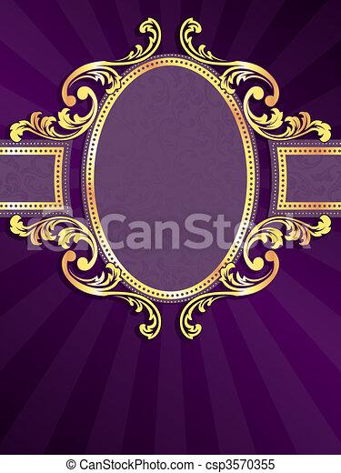 bíbor, arany, függőleges, címke - csp3570355