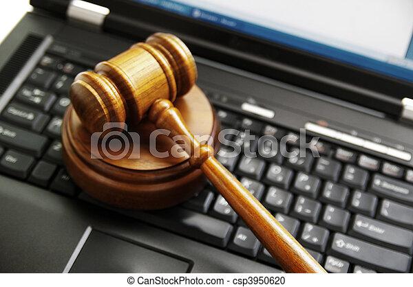 bírók, law), laptop computer, (cyber, árverezői kalapács - csp3950620
