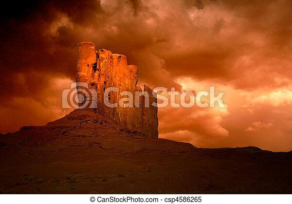 böse, tal, arizona, sturm, denkmal - csp4586265