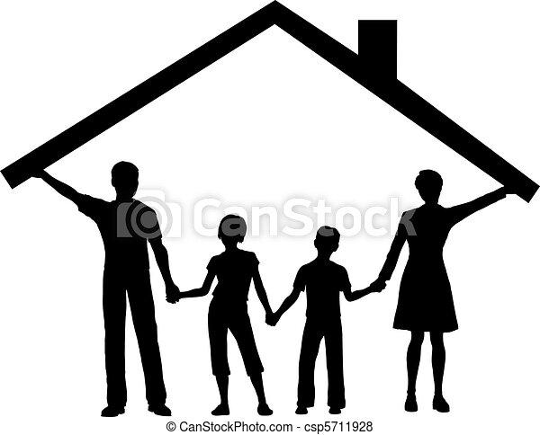 børn, familie, hus, hen, tag, under, hjem, greb - csp5711928