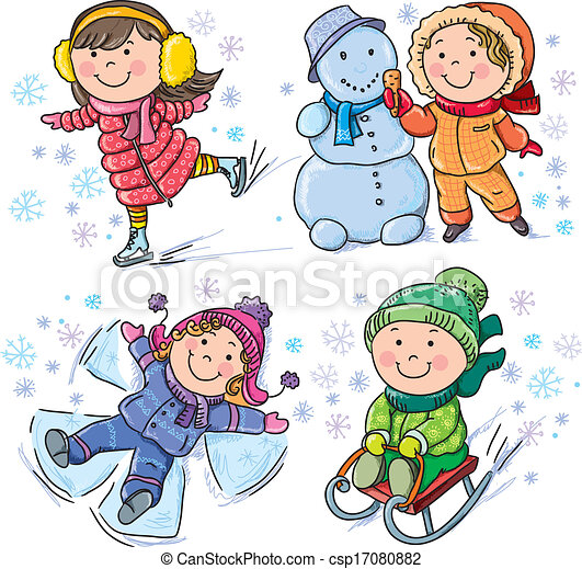børn, vinter - csp17080882
