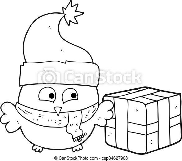 Búho Navideño En Blanco Y Negro Un Búho De Navidad Blanco Y