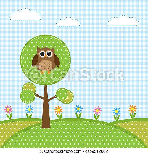 Búho en árbol y flores - csp9512662