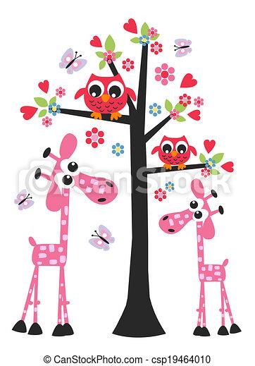 A Owl le encanta la jirafa de cumpleaños de San Valentín - csp19464010