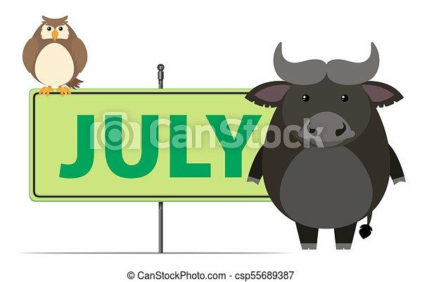 Firma la plantilla para julio con búho y búfalo - csp55689387