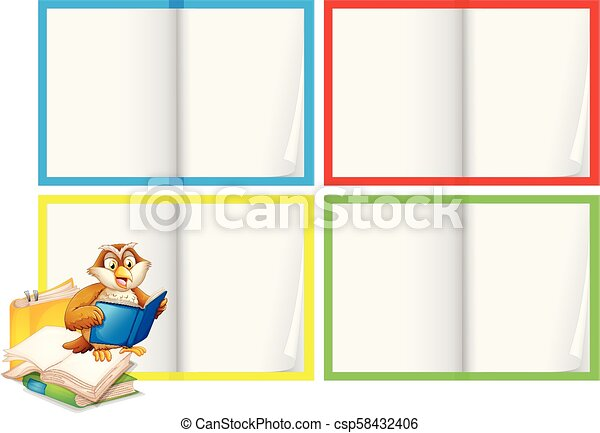 Una plantilla de libro en blanco con búho - csp58432406