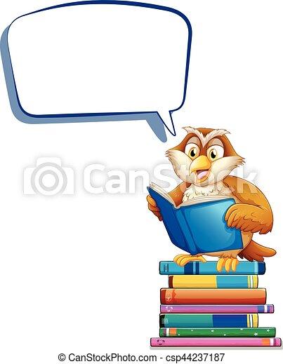 Discurso de burbujas con libros de lectura de búhos - csp44237187