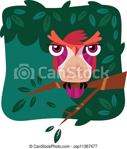 Una ilustración vectora de un lindo búho perforado en una rama de árbol - csp11367477
