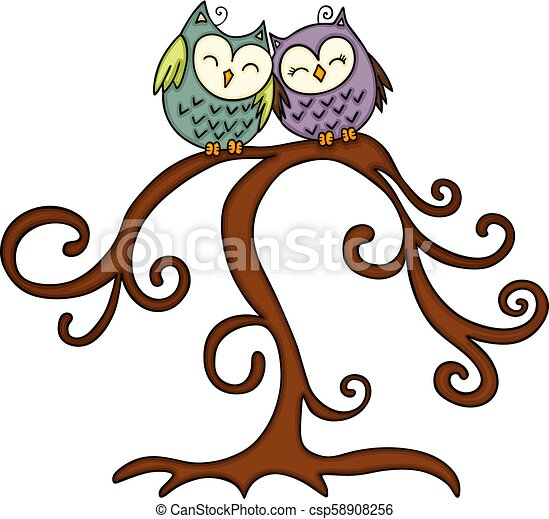 Un par de búhos en el árbol - csp58908256