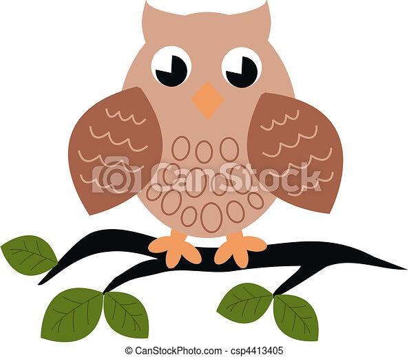 Un búho sentado en una rama - csp4413405