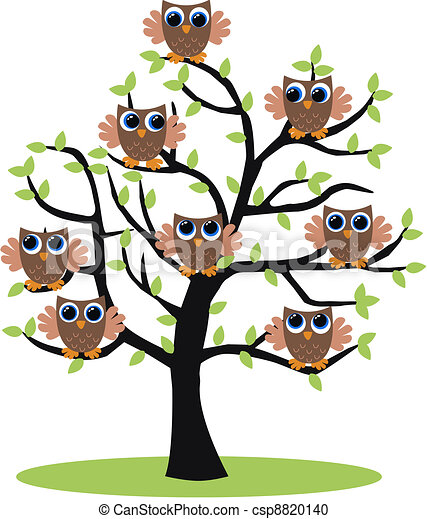 Mochuelos en un árbol - csp8820140