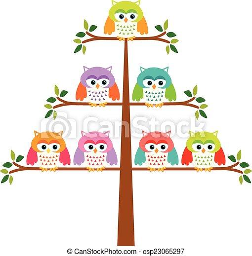 Búhos en un árbol - csp23065297