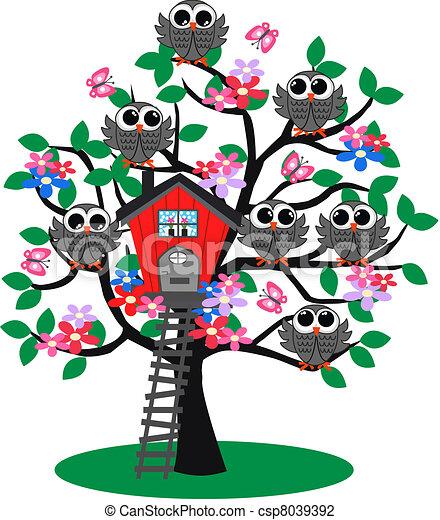 Muchas lechuzas en un árbol - csp8039392