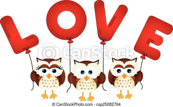 Búhos lindos con globos de amor - csp25082764