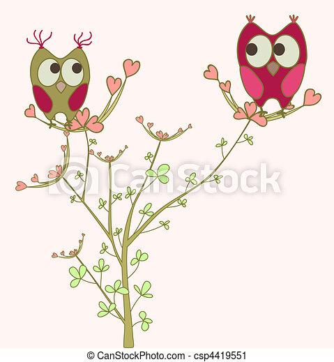 Búhos enamorados de Branch - csp4419551