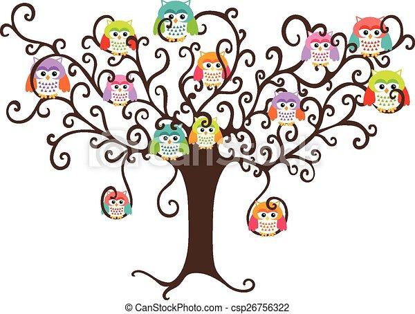 Lechuzas coloridas en árbol bonito - csp26756322