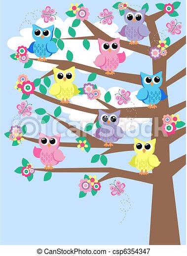 Lechuzas coloridas en un árbol - csp6354347