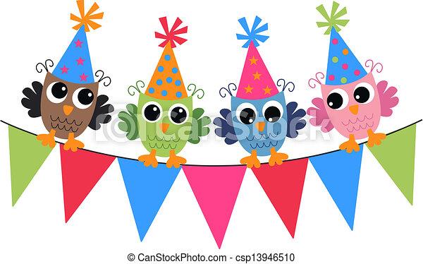 Feliz cumpleaños búhos - csp13946510