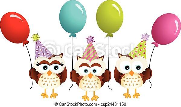Búhos de cumpleaños con globos - csp24431150