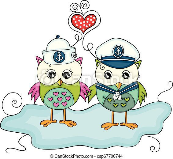 Dos búhos marinos enamorados - csp67706744