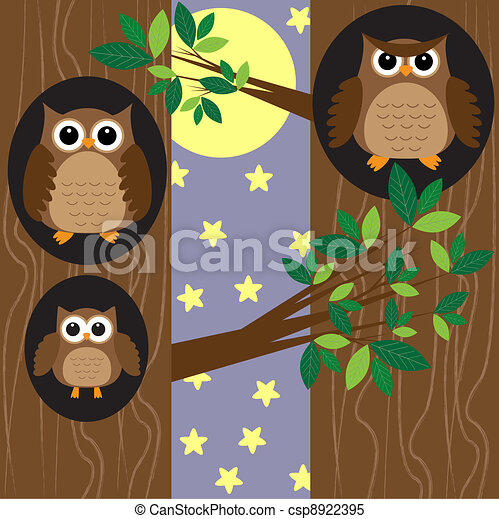 Lechuzas familiares de noche - csp8922395