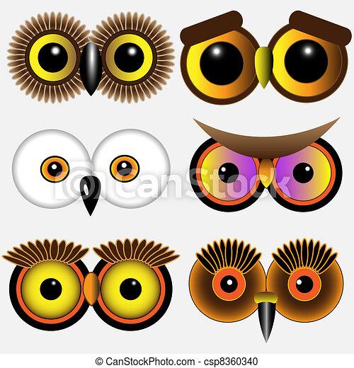 Búhos Ojos Ojos Owlsvector Conjunto