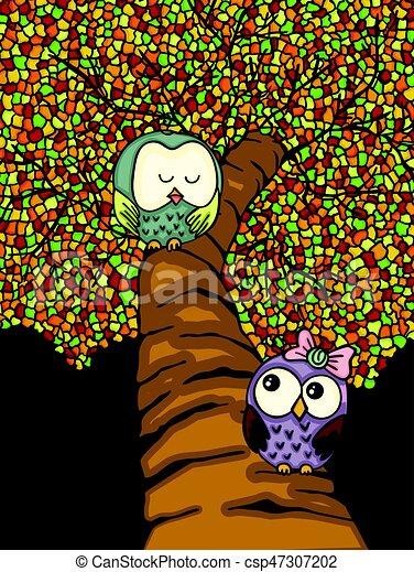 Un par de búhos en un árbol colorido - csp47307202