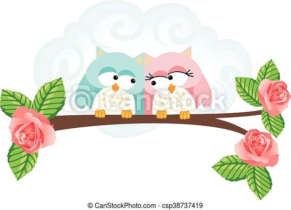 Pareja de búhos enamorados en rama - csp38737419