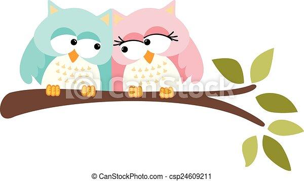 Linda pareja de búhos - csp24609211