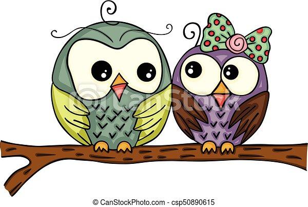 Un par de búhos en rama - csp50890615