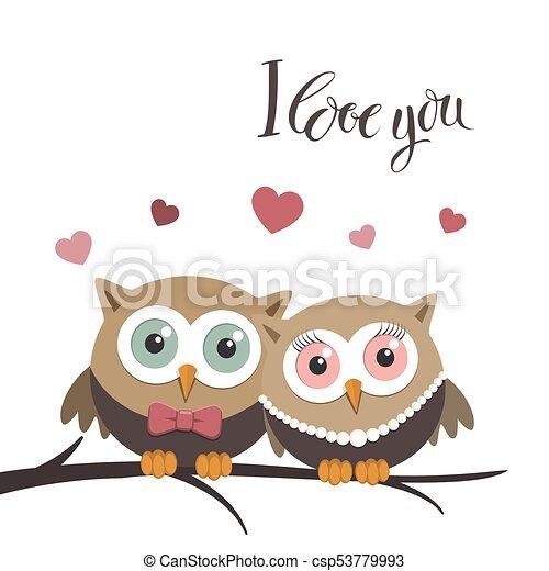 Un par de búhos enamorados en un fondo blanco y un mensaje - csp53779993