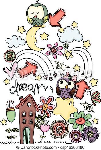 Ilustración de vectores de un búho de dibujos animados en sueños - csp46386480